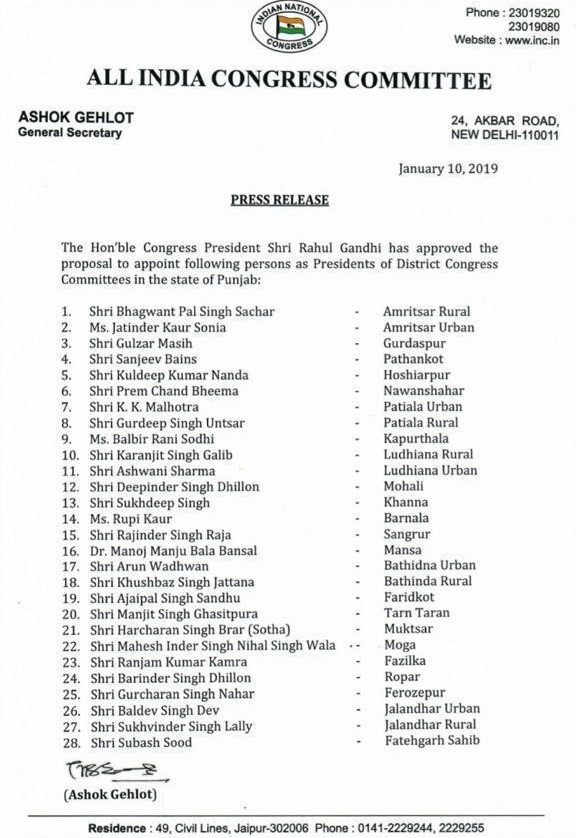Congress District Presidents in punjab