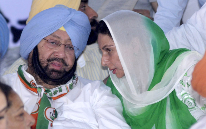 capt Amarinder Singh with his wife and ex union minister parneet kaur