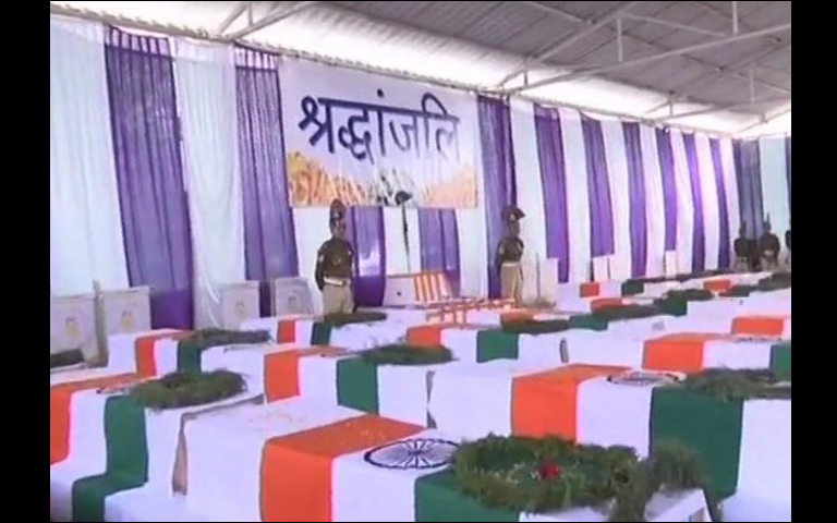 Coffins of Pulwama CRPF Soldiers