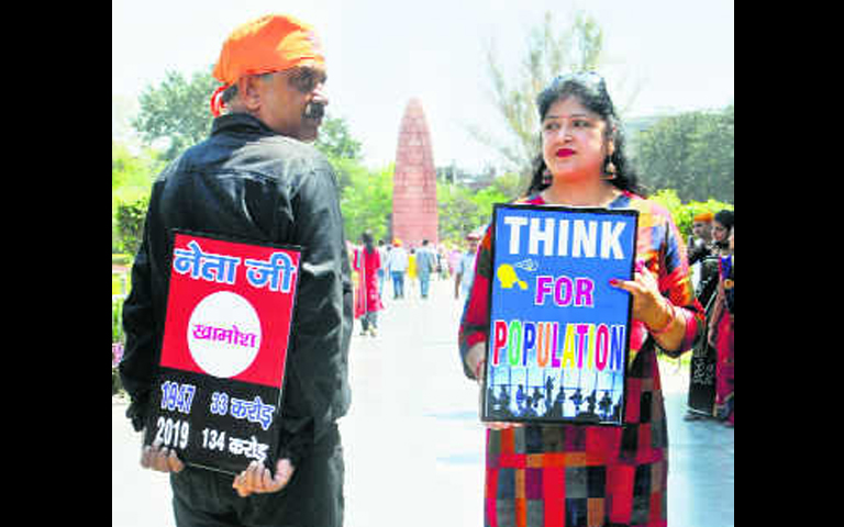 couple marches against population