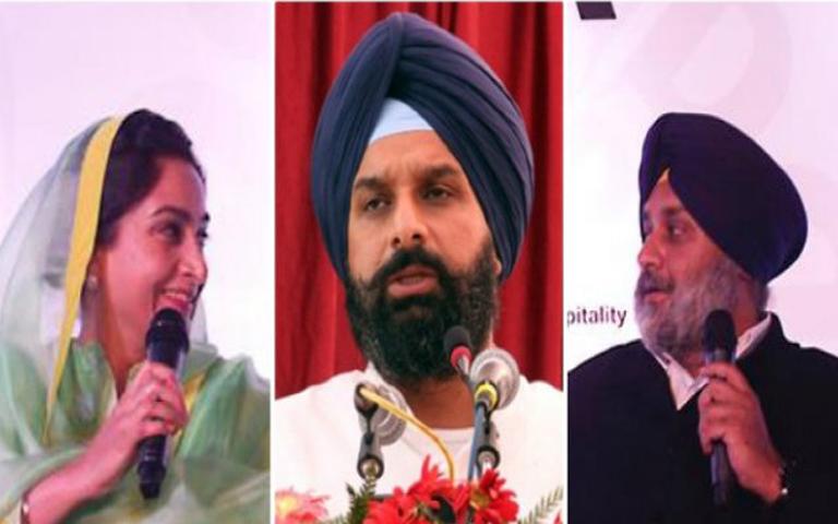 harsimrat badal bikram majithia and sukhbir badal