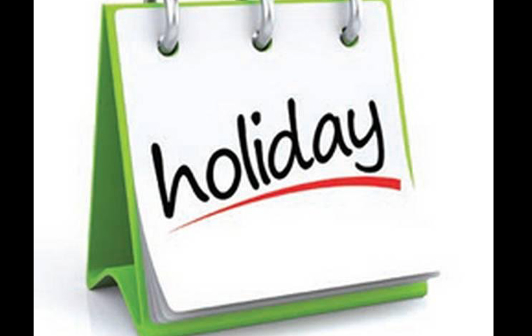 holiday on 19 and 20 may