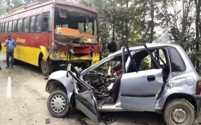 Kartar-bus-car-collision,-four-people-died-on-the-spot