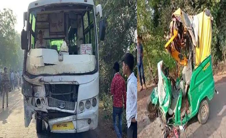 Auto-rickshaw-and-bus-collision-in-Gwalior