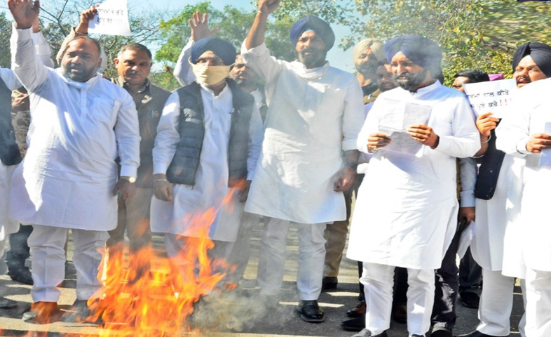Punjab-Government-effigy-(-----)-was-burnt-outside-the-Punjab-Assembly-by-shriomani-akali-dal