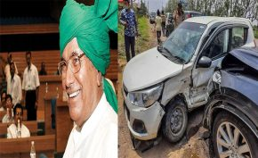 Former-Haryana-CM-om-prakash-chautala-escapes-unhurt-in-car-accident-in-gurgaon