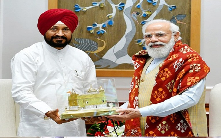 Charanjit Singh Channi and PM Modi